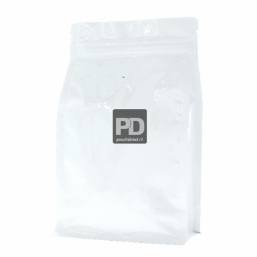 Flat bottom stazak glanzend wit (ventiel en zipper) 140x210+{35+35} mm