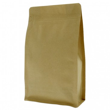 Flat Bottom Pouch brown kraft paper with front zipper